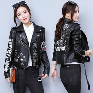 Womens-Ladies-New-Cropped-Leather-Floral-Embroided-Biker-Jacket
