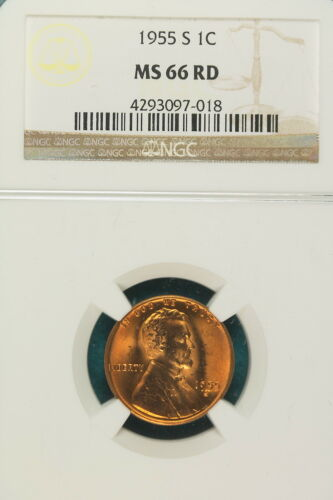 1955-S NGC MS66 Red Lincoln Wheat Cent ! #KG