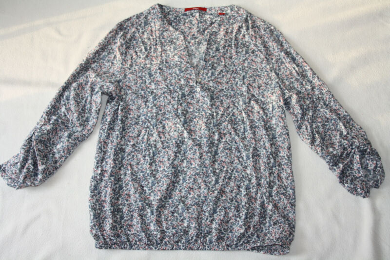 S.oliver - Viskose Schlupf-bluse Shirt Gr.38 - Blau Bunt Blümchendruck Pullover