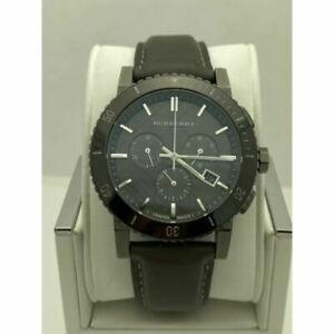 Burberry Men's Gray Dial Gray Leather Strap Swiss Made Watch BU9384