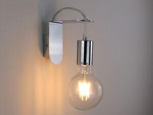 Lampada parete applique design moderno cromo minimal art industrial