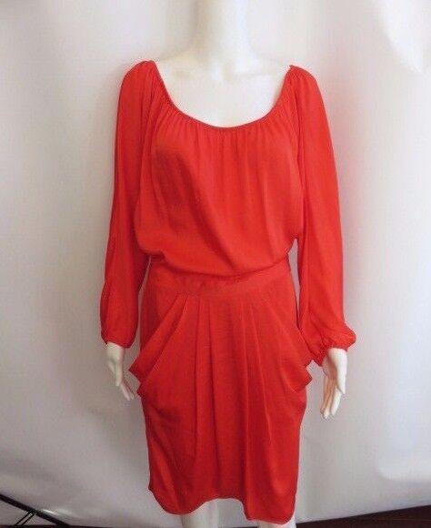 BCBG MAX AZRIA Orange rot Long Sleeve  Cladiana  Dress Größe S NWT
