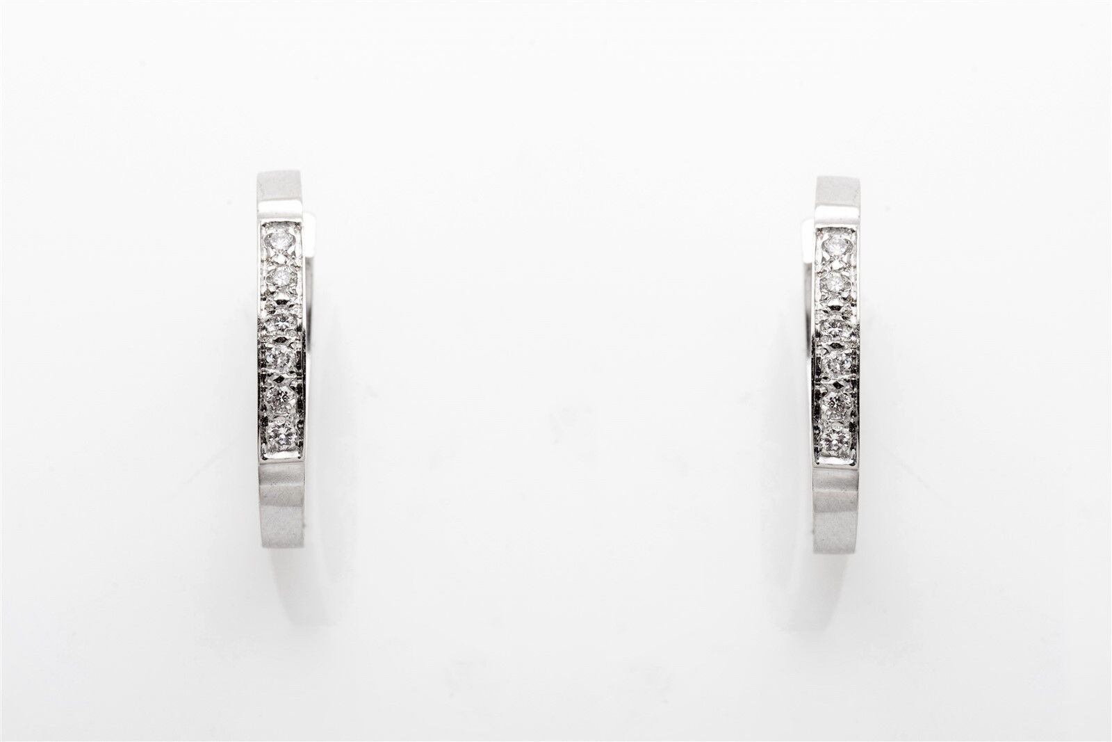 Estate  2000 .50ct Diamond 14k White gold HOOP Earrings BIG 1