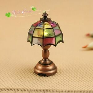 1 12 dollhouse battery operated powered tiffany led table lamp for 12 led table lamp