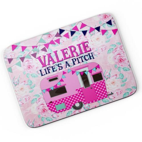 Personalised Pink Caravan Mouse Mat Pad Computer Gaming Camper Gift Hers KS67