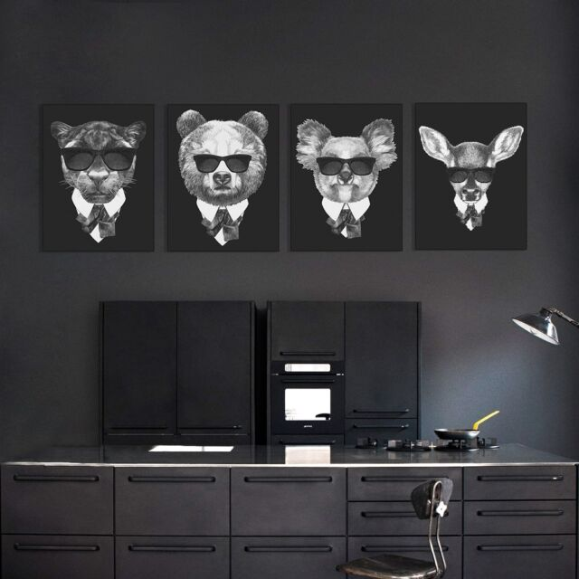 Modern Abstract Mafia Animals Art Print Poster Canvas Wall Picture Home Decor