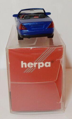 HERPA HO 1//87 MERCEDES SLK ROADSTER CABRIOLET OUVERT BLEU METAL #032148 IN BOX