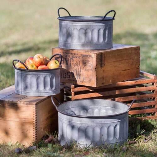 Country Vintage Rustic Set of 3 Galvanized Apple Baskets Bin in Corrugated Metal