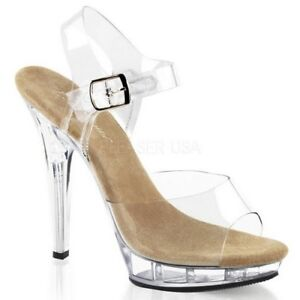 762510c2d1 Fabulicious LIP-108 Shoes Clear-Tan Clear Sandals Ankle Strap Open ...