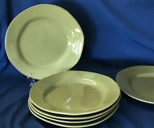 Set-of-6-Large-PIER-1-ELEMENTAL-Assymetrical-Earthenware-Dinner-Plates-Heavy