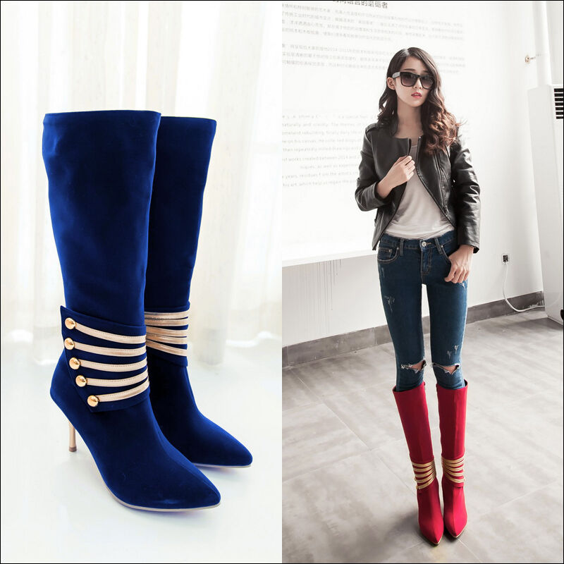 Stylish Women's Stiletto High Heel Pointed Toe Riding Knee High Boots shoes K642