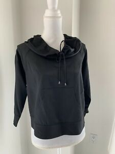 Diane Von Furstenberg Black Silk Hoodie Top Blouse Leisure Wear SZ 4 S