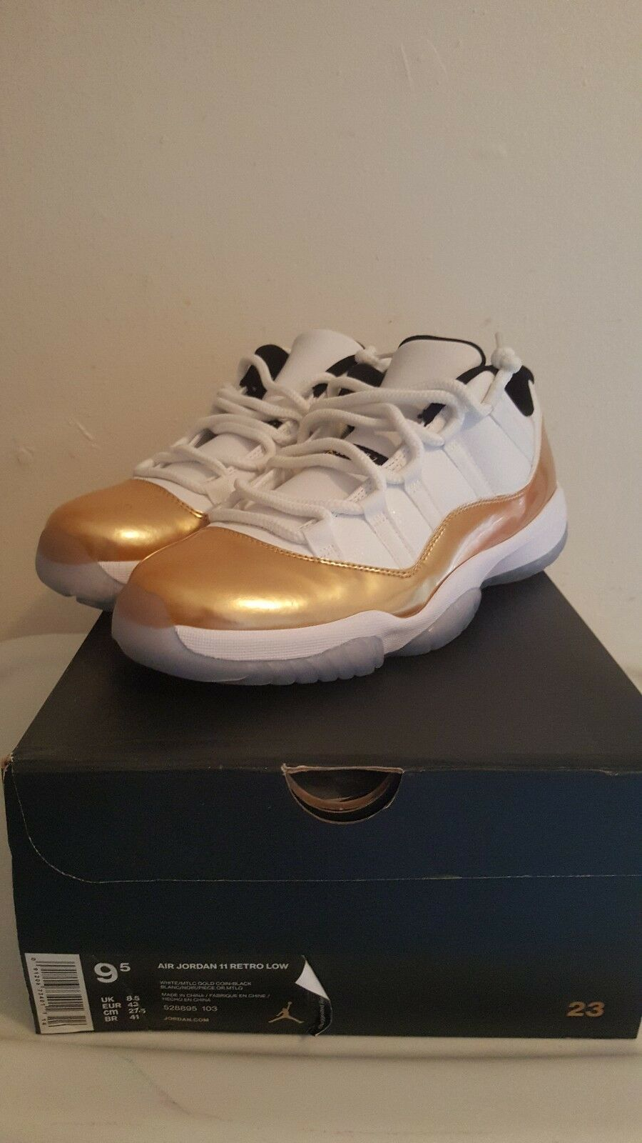 the best attitude dd090 5c08b VNDS VNDS VNDS Mens Nike AirJordan Retro 11 low size 9.5 white gold 04994f