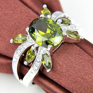 Fire Peridot Silver Plated Wedding Rings Russia USA Holiday Gift