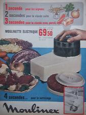 PUBLICITÉ 1966 MOULINEX MOULINETTE ÉLECTRIQUE 4 SECONDES POUR LE NETTOYAGE - AD