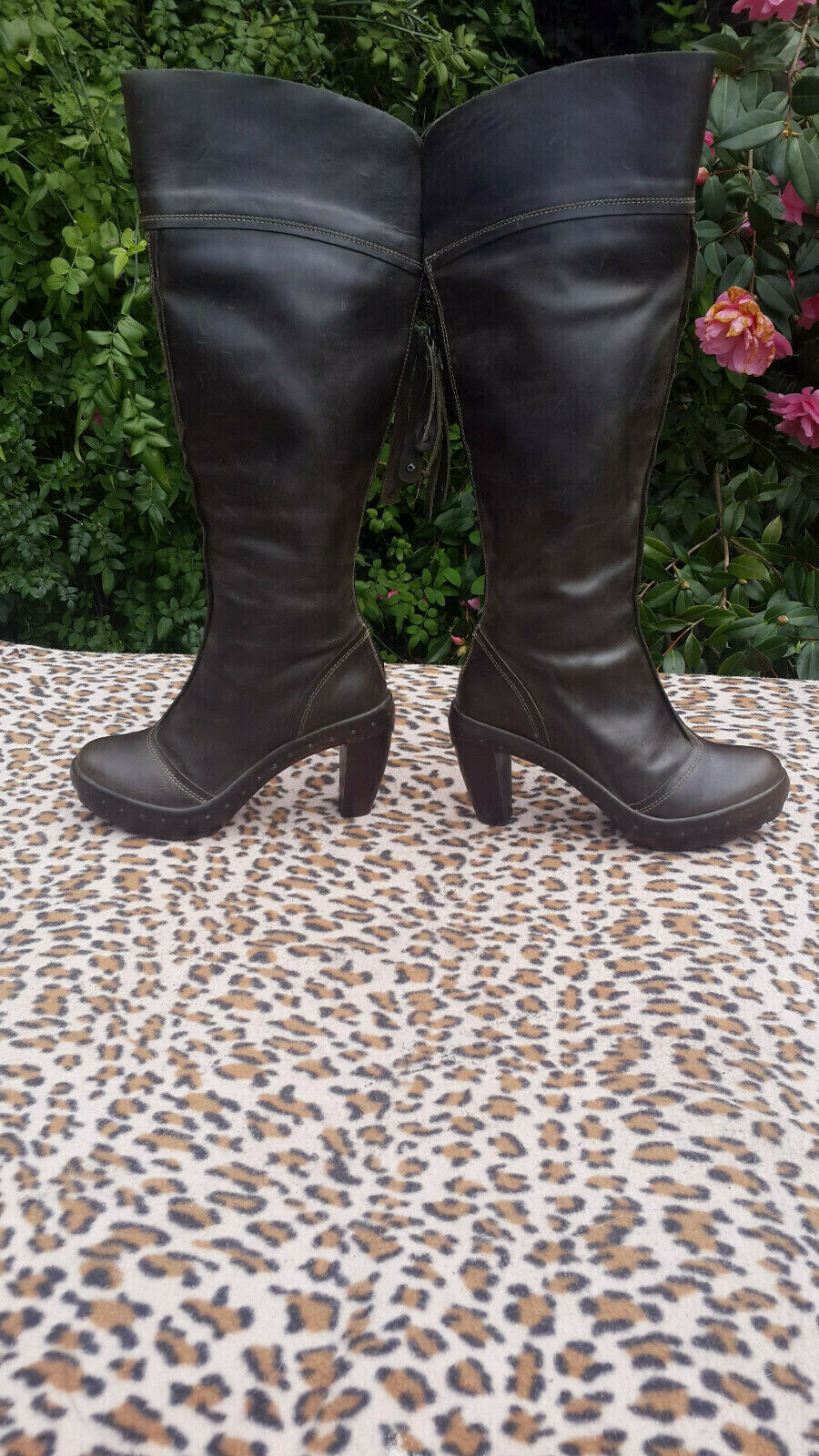 Fly London Taupe Green high heeled heeled heeled leather platform boots UK 5 EU 38 84f6ca