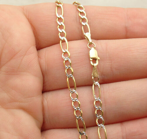 """10/"""" Diamond Cut Pave Figaro Ankle Bracelet Anklet Real 10K Yellow White Gold"""