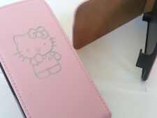 SAMSUNG GALAXY S3 MINI i8190 HELLO KITTY IN VERA PELLE ROSA FLIP PHONE CASE