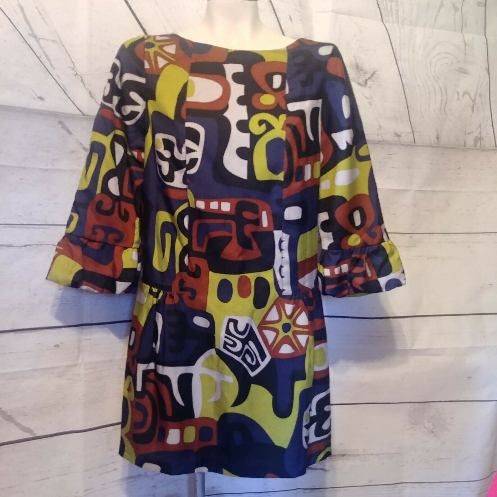 Tibi Woherren Größe ES Multi Farbe 3 4 Sleeve Silk Wool Shift Geometric Dress