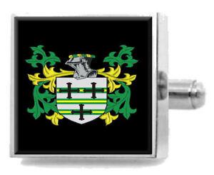Melling England Heraldik Wappen Sterling Silber Manschettenknöpfe Graviert