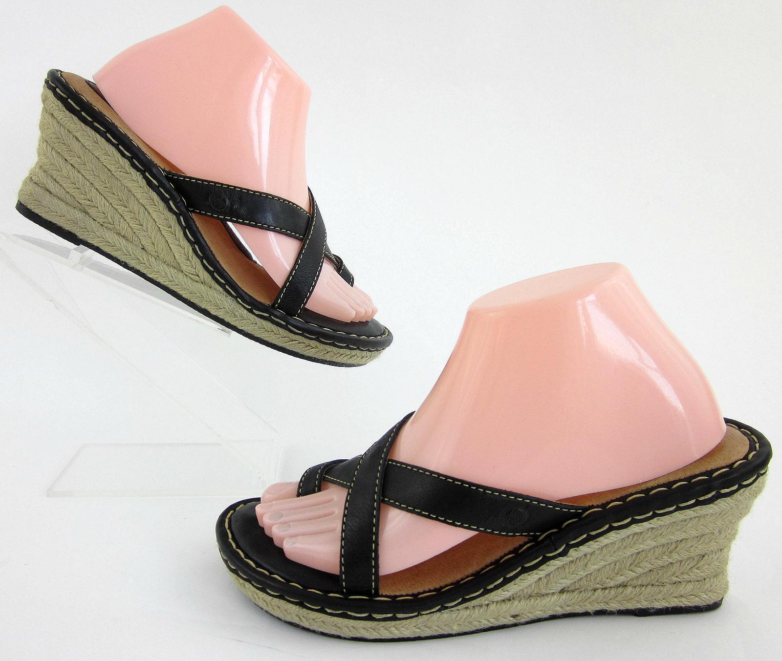 Born Womens Jute Wedge Toe Loop Sandals Black Contrast Stitch Leather Sz 9