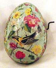Mattel Tin Easter Egg Toy Windup Musical Blue Bird Flowers Litho Vintage As Is