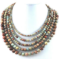 Ny6design 5 Strands Of Natural Jasper Necklace With Gold Clasp 17.5-20.5 Gift