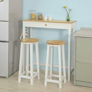 premium selection 733ec 5b5e7 Details about Breakfast Bar Table and 2 Stools Set Wooden Kitchen Dining  Table Seat Furniture