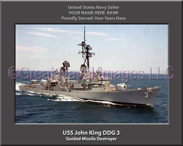 USS John King DDG DDG DDG 3 Personalized Canvas Ship Photo Print Navy Veteran Gift 5547f1