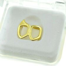 Double Open Fang Grillz Bottom Right 14k Gold Plated Canine 2 Tooth Vampire Fang