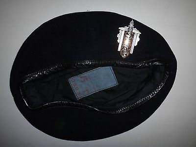 Vintage French Army 1er BRM Black Beret With Leather Headband And Original Label