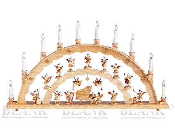 Schwibbogen avec ange au piano nature le 020 Blank les Monts Métallifères Lumières Arc NEUF