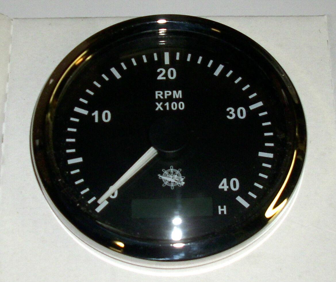 Drehzahlmesser 85 mm  Diesel 0-4000 RMP Schwarz Blende Poliert  27.326.02