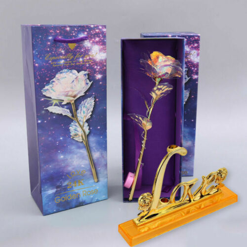 24K Gold Foil Rose Flower LED Luminous Galaxy Valentine/'s Day Birthday Gifts