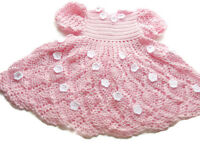 Baby Pink Crochet Baby Dress,Infant, preemie,Newborn,Reborn Doll Clothes