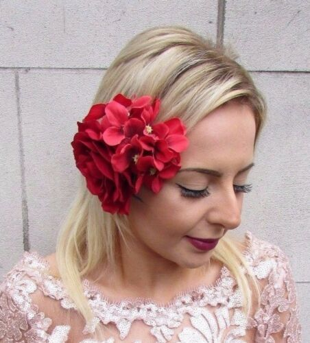 Red Hydrangea Rose Flower Hair Clip Fascinator Bridesmaid Floral 1950s Vtg 4608