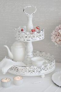 Details zu Etagere Plateau Muffinständer Weiß Shabby Chic Vintage Landhaus