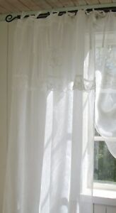 vorhang mariella leinen gardinen schal 120x240 cm wei shabby vintage lillabelle ebay. Black Bedroom Furniture Sets. Home Design Ideas