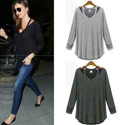 Women Long Sleeve V Neck Loose Casual Solid Short T-Shirt Tops Blouse Stylish