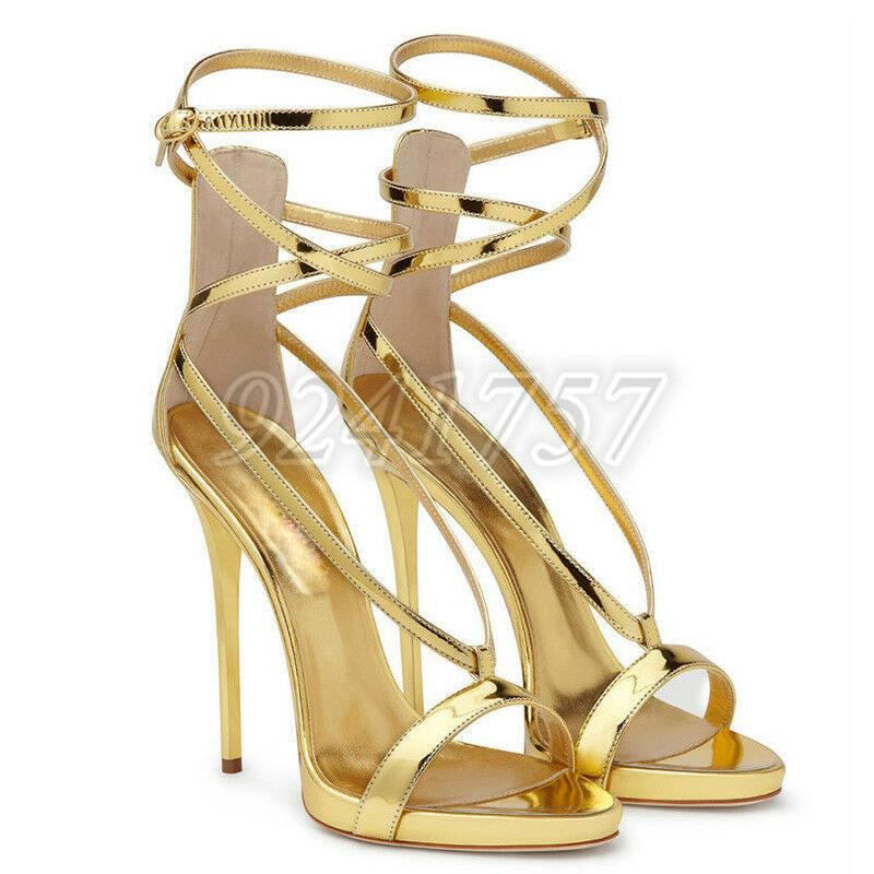 Luxus Damen Schuhe Pumps Sandalen Knöchel Fesselriemen Riemchensandalen Gr 34-45