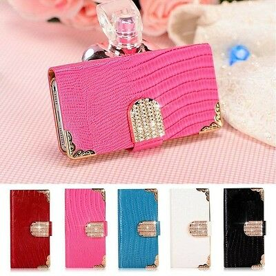New Luxury Bling Leather Flip Card Wallet Case Cover  For Apple iPhone 4 4S 5 5S