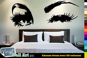 WINKING-EYE-Lashes-Vinyl-Wall-Art-Decal-Sticker-Decal-Various-Colors-FREE-P-amp-P