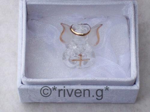 BAPTISM GIFT FOR BOYS AND GIRLS BAPTISM CRYSTAL GLASS ANGEL PRAYING WITH CROSS