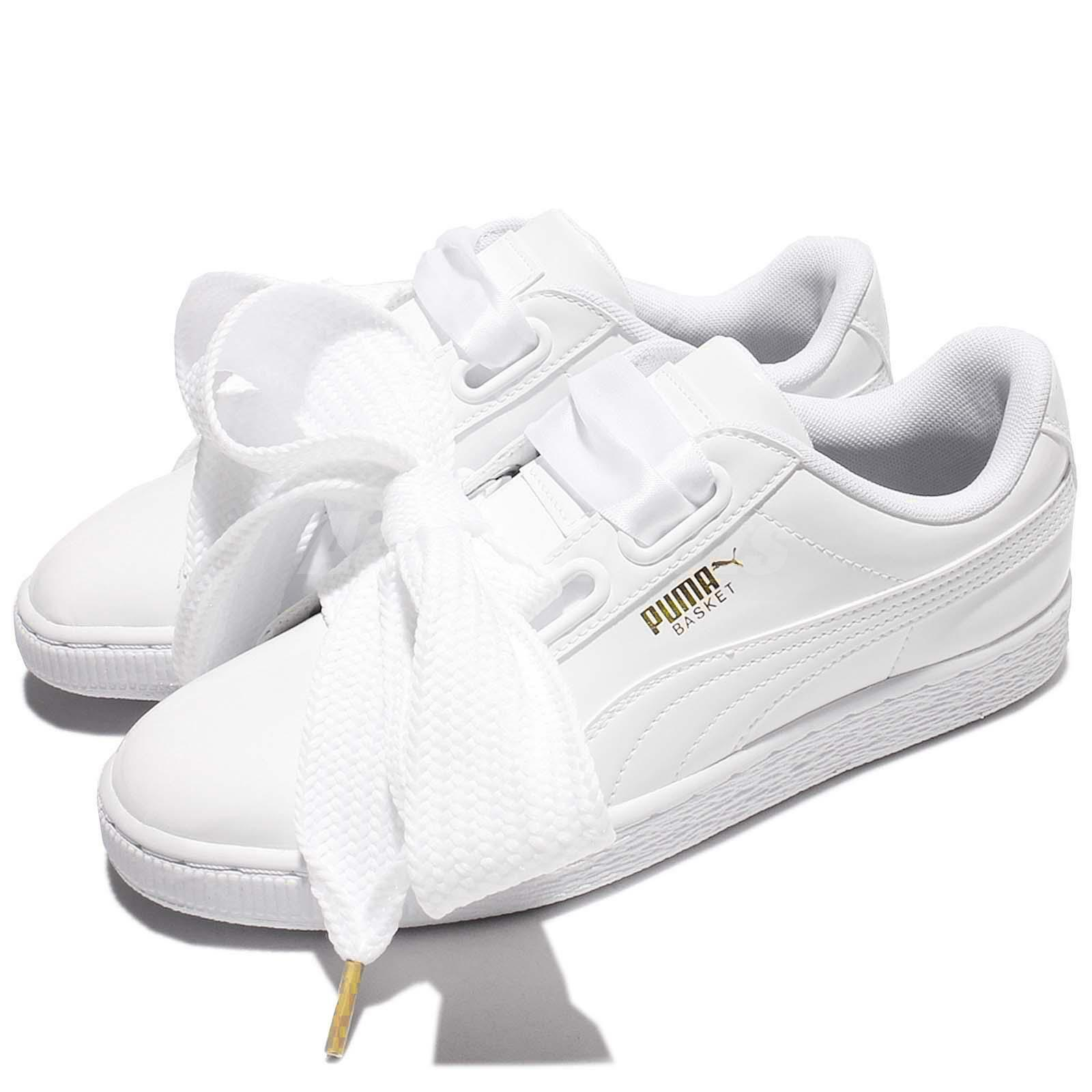 Puma Basket Heart Patent Wns Leather White Donna Shoes Scarpe da Ginnastica 363073-02