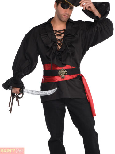 Mens Deluxe Pirate Shirt Adults Buccaneer Captain Fancy Dress Costume Outfit