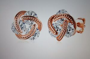 NEW-14K-Rose-Gold-Love-Knot-Stud-Earrings-W-Swarovski-Crystals-Made-in-ITALY