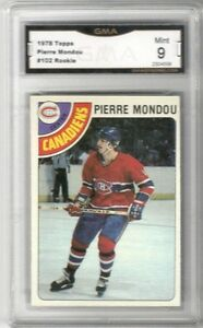 1978-79-Topps-102-Pierre-Mondou-RC-Graded-MINT-Montreal-Canadiens