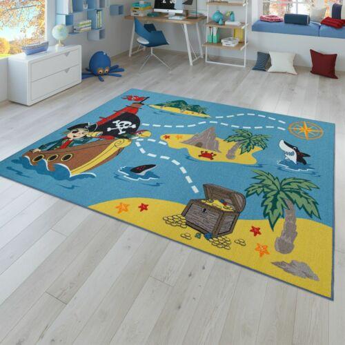 Kinderteppich Kinderzimmer Bunt Piraten Design Schatzsuche Hai Meer Schiff