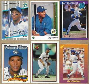 1989 GARY SHEFFIELD Rookie 6 Card Lot: Topps, Donruss, Bowman, Upper Deck, Fleer