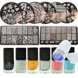 BORN-PRETTY-15pcs-set-Manicure-Nail-Stamping-Plates-Kit-amp-Stamping-Polish-Set
